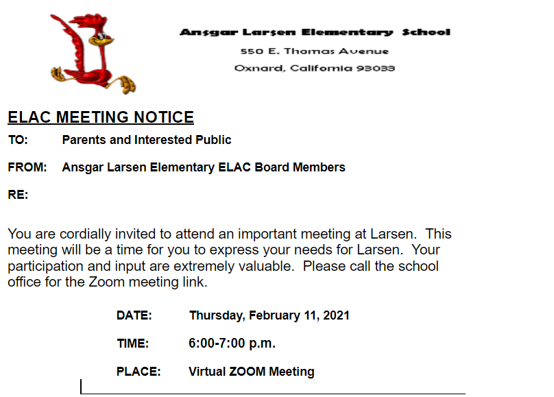 ELAC Meeting - 2/11/21 @ 6:00pm