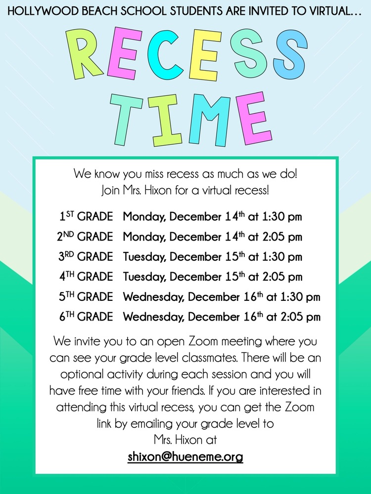 It's RECESS Time!!! Virtual Recess times here!