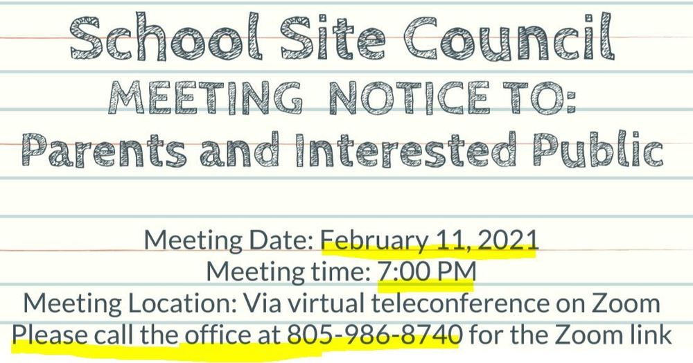 SSC Meeting- 2/11/21 @ 7 PM