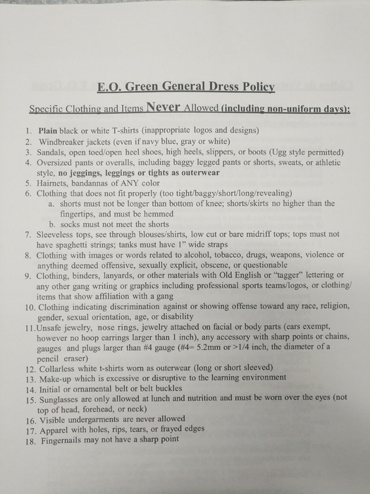 Green General Dress Policy