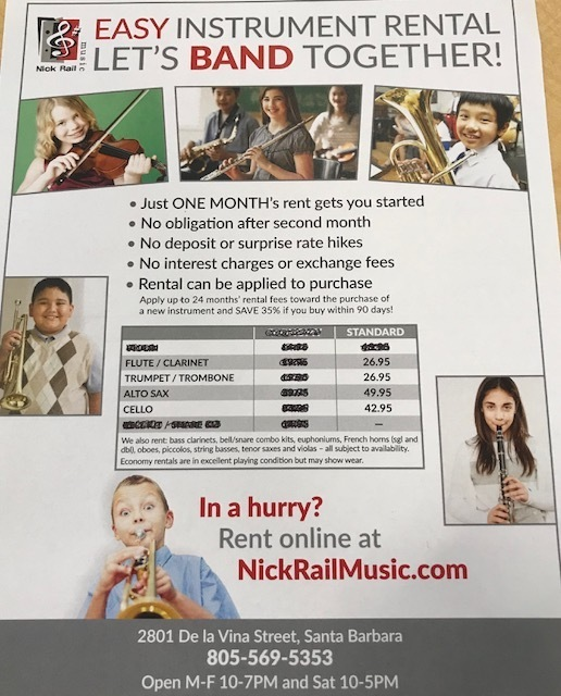 Band instrument rental info