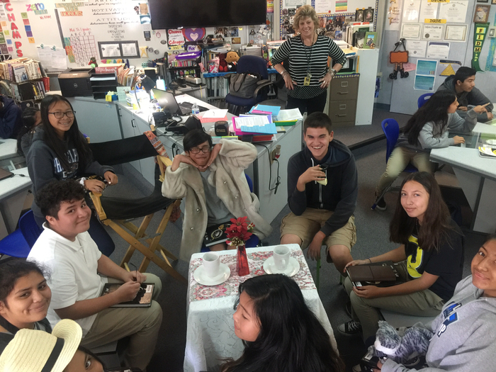 ELA students acting out a scene from Diary of Anne Frank