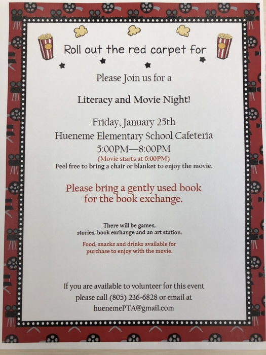 Literacy and Movie Night flyer!
