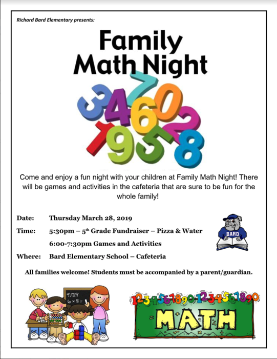 Family Math Night Thursday, March 28th at 5:30pm
