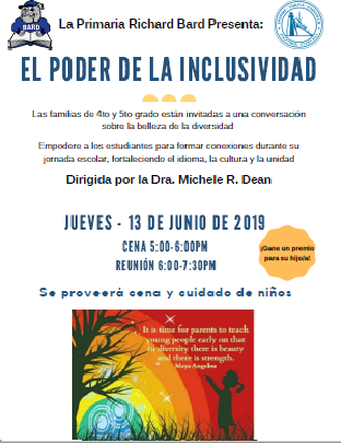 Parent Workshop June 13th 5pm/ Reunion de padres 13 de juino a las 5pm