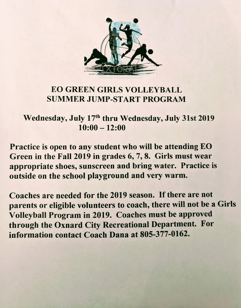 Girl's Summer Volleyball information