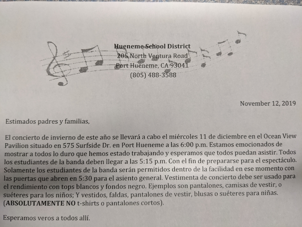 Spanish Band Concert Flyer