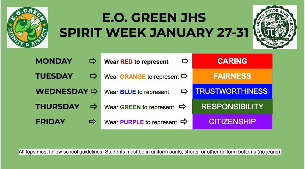 Spirit Week Colors